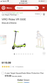 Electric scooter in Nellis AFB, Nevada