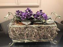 Metal decorative planter with faux violets/liner. in Naperville, Illinois