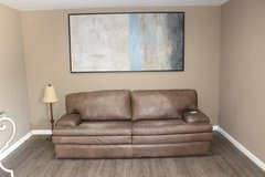 Leather sofa (Gray brown tones) in CyFair, Texas