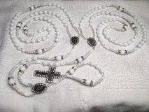 Lasso Wedding Rosary White Crystal Glass Faceted Beads NEW Style Beads Swarovski Accents Bling S... in Kingwood, Texas