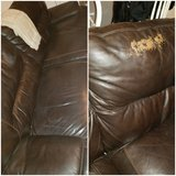 Leather couch both sides recline some wear in Camp Lejeune, North Carolina