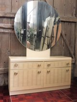 Eggshell White Vanity with Big Round Mirror in Ramstein, Germany