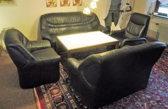 4 Piece Black Leather Couch Set with Massage Chair in Ramstein, Germany