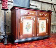 Antique Hand Painted Bavarian Dresser Cabinet Solid Wood in Ramstein, Germany