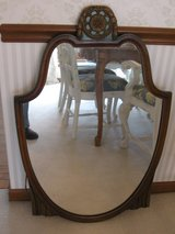 Vintage 1930/1940's Shield Wood Dresser Mirror in Oswego, Illinois