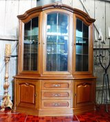 Very Nice Lighted Walnut China Cabinet Solid Wood in Ramstein, Germany