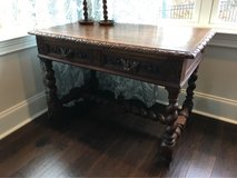Antique French Henri II Carved Oak Barley Twist Writing Table  Late 19th century  (1870-80's) in Fort Benning, Georgia