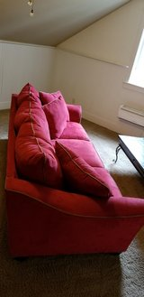 Red couch in Beaufort, South Carolina