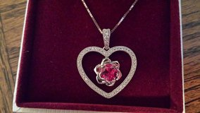 Heart necklace with CZS and synthetic Ruby in Beaufort, South Carolina