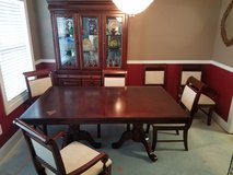 Cherry Dining Room Table with additional Leaf, 6 Chairs and Lighted Hutch in Cherry Point, North Carolina