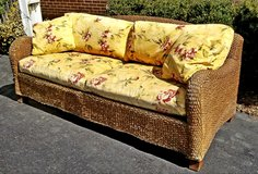 wicker woven patio sofa vintage mcm large! in Joliet, Illinois