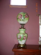HUGE & BEAUTIFUL! Gone With The Wind - Hurricane Lamp - Beautiful Flowers!  Electrified Top & Bo... in Alamogordo, New Mexico