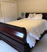 Dark Cherry Wood Veneer  Queen Sleigh Bed/Nightstand in Lockport, Illinois