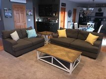 Beautiful living room sofa and loveseat w/ end table and coffee table in Joliet, Illinois
