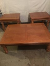 Nice oak coffee and end tables in Fort Campbell, Kentucky