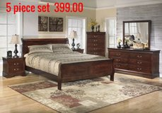 Brand new queen 5 piece cherry  sleigh bed in Wilmington, North Carolina