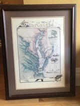 Framed Chesapeake Bay Map in Bartlett, Illinois