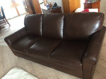 Comfy Brown Leather Sofa, LIKE NEW in Ramstein, Germany