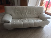 White Leather Sofa, Like New in Ramstein, Germany