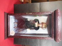 16 Inch Porcelain Doll w/Swarovski Earrings and Necklace in Glass/Wood Case in Chicago, Illinois