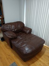 Brown leather chase and sofas in Aurora, Illinois