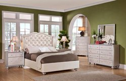 Upholstered Queen Bedroom Suit - premium pearl vinyl & diamond tufted in Spring, Texas