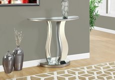 """MONARCH ACCENT TABLE - 36""""L / BRUSHED SILVER / MIRROR SKU# I 3727 in Bolingbrook, Illinois"""