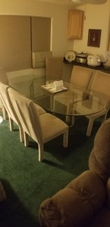 7' beveled oval DR table w/6 upholstered chairs in 29 Palms, California