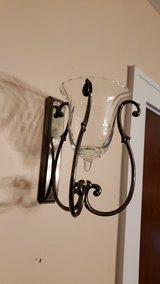 Metal Wall Sconce with Clear Swirl Glass Votive in Batavia, Illinois