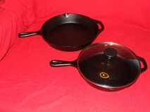 Vintage Lodge Cast Iron Skillet 10SK & 8SK / Clear Lid in Wheaton, Illinois