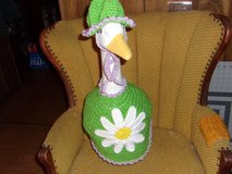 Daisy Flower Lawn Goose Crochet Outfit Garden Statue Decor in Belleville, Illinois