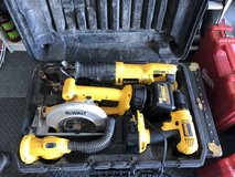Dewalt Tool Set in Case - Battery Operated Saws, Drill, Flashlight, Battery, Charger in Glendale Heights, Illinois