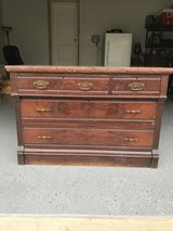 1930s Vintage (possibly older) Wooden 3.25-Drawer Dresser with Marble Top in Quantico, Virginia