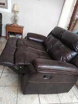 Dark Brown Leather loveseat sofa  Couch W Leg Props Still New in El Paso, Texas