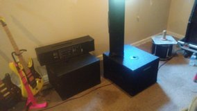 Power works pa system 2 pw100t speakers and 2pw112-s with stands and cases in Beaufort, South Carolina