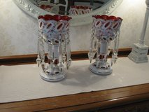 Pair Of Antique Bohemian Ruby Glass Scalloped Top Mantle Lusters in Chicago, Illinois