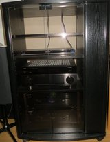 Black Stereo Cabinet with Glass Door, adjustable Shelves, and Door on the  right side for CD's. in Spangdahlem, Germany