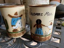 2 ceramic glasses w/Mexican design from Palomis in Alamogordo, New Mexico