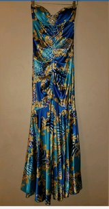 Satin formal prom mermaid strapless long dress blue gold turquoise in Baytown, Texas