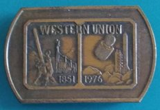 Original vintage 1976 Western Union 125th year brass belt buckle in Spring, Texas