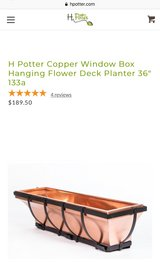 """PAIR- REAL COPPER H. Potter Window Box Flower Planter 36"""" in Chicago, Illinois"""