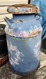 Vintage Painted Metal Milk Can in Naperville, Illinois