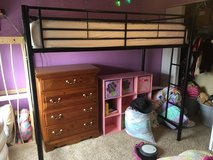 Black Twin Size Metal Loft Bed Good Condition in Chicago, Illinois