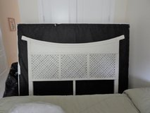 Queen bed with White Headboard, standard metal frame and optional mattress/box spring in Cherry Point, North Carolina