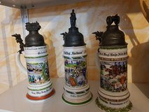 3 military steins (mugs) *beautiful* in Ramstein, Germany