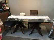 Glass top beveled table in Naperville, Illinois