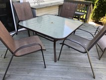 Furniture: Patio/Deck Table and 4 chairs with Umbrella and Stand in Quantico, Virginia