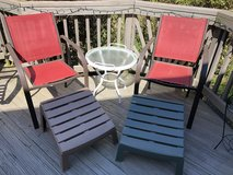 Furniture: Deck/Patio 2 Chairs with leg holders and with table (removable glass top as serving t... in Quantico, Virginia