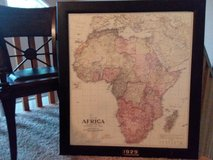 Large professionally framed map of Africa dated 1929 in Moody AFB, Georgia