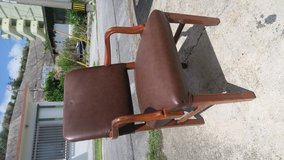 strong office chair or computer chair maple wood frame & leather  ( call my cell phone only ) in Okinawa, Japan